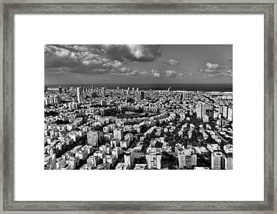 Tel Aviv Center Black And White Framed Print by Ron Shoshani