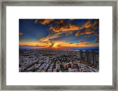 Tel Aviv Sunset Time Framed Print by Ron Shoshani
