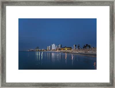 Tel Aviv The Blue Hour Framed Print by Ron Shoshani