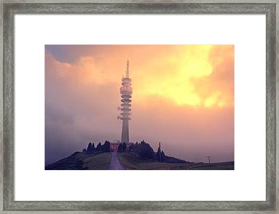 Telecommunications Tower At Sunset Framed Print by Mikel Martinez de Osaba