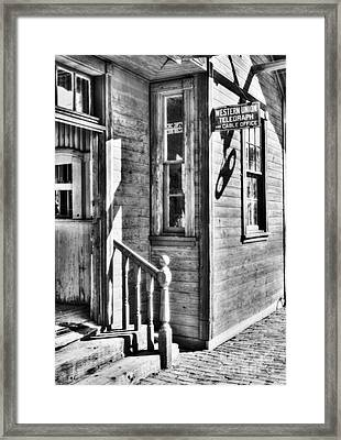 Telegraph And Cable Office Bw Framed Print by Mel Steinhauer