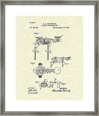 Telegraph Key 1886 Patent Art Framed Print by Prior Art Design