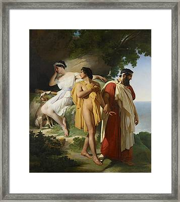 Telemachus And Eucharis Framed Print by Raymond Quinsac Monvoisin