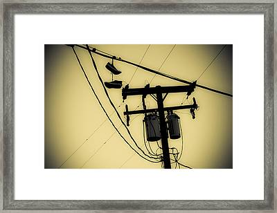 Telephone Pole And Sneakers 1 Framed Print by Scott Campbell