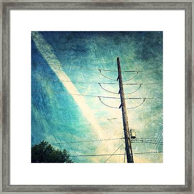 Telephone Pole And Wide Contrail Framed Print by Amy Cicconi