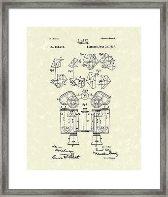 Telescope 1897 Patent Art  Framed Print by Prior Art Design