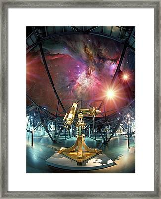 Telescope And Orion Nebula Framed Print by Detlev Van Ravenswaay