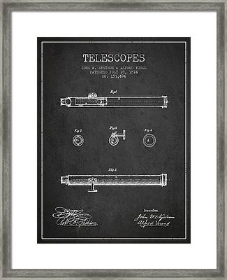 Telescope Patent From 1874 - Dark Framed Print by Aged Pixel
