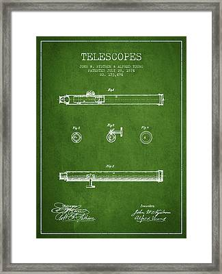 Telescope Patent From 1874 - Green Framed Print by Aged Pixel