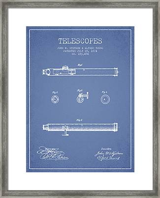 Telescope Patent From 1874 - Light Blue Framed Print by Aged Pixel