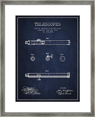 Telescope Patent From 1874 - Navy Blue Framed Print by Aged Pixel