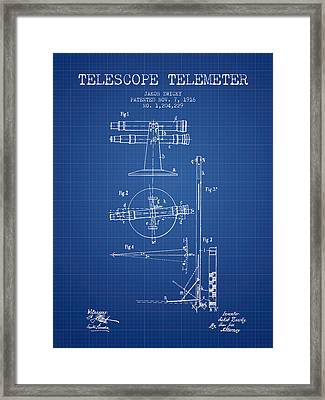 Telescope Telemeter Patent From 1916 - Blueprint Framed Print by Aged Pixel