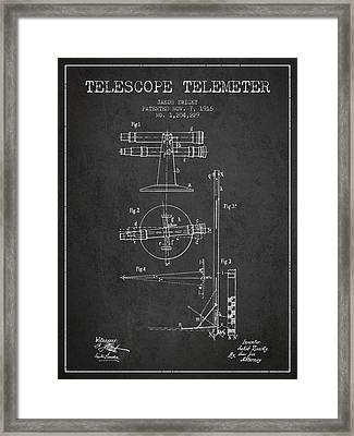 Telescope Telemeter Patent From 1916 - Charcoal Framed Print by Aged Pixel