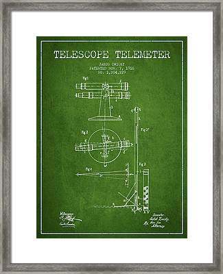 Telescope Telemeter Patent From 1916 - Green Framed Print by Aged Pixel