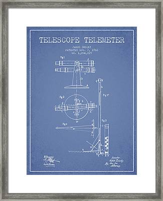 Telescope Telemeter Patent From 1916 - Light Blue Framed Print by Aged Pixel