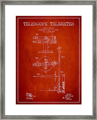 Telescope Telemeter Patent From 1916 - Red Framed Print by Aged Pixel