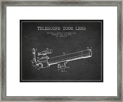 Telescope Zoom Lens Patent From 1999 - Dark Framed Print by Aged Pixel