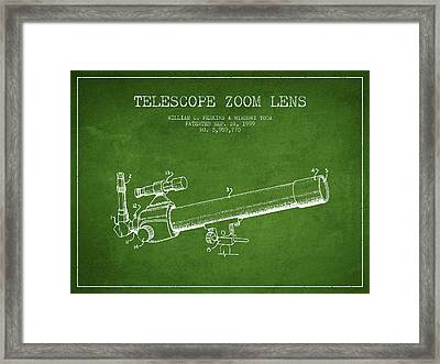 Telescope Zoom Lens Patent From 1999 - Green Framed Print by Aged Pixel