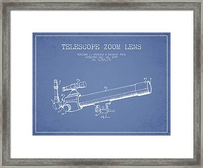 Telescope Zoom Lens Patent From 1999 - Light Blue Framed Print by Aged Pixel