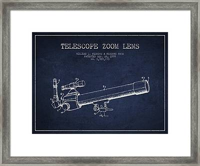 Telescope Zoom Lens Patent From 1999 - Navy Blue Framed Print by Aged Pixel