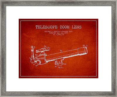 Telescope Zoom Lens Patent From 1999 - Red Framed Print by Aged Pixel