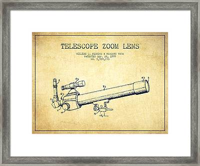 Telescope Zoom Lens Patent From 1999 - Vintage Framed Print by Aged Pixel