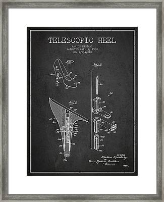 Telescopic Heel Patent From 1960 - Dark Framed Print by Aged Pixel