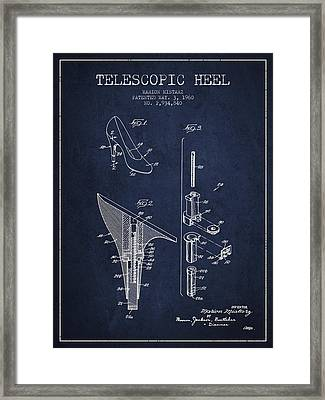 Telescopic Heel Patent From 1960 - Navy Blue Framed Print by Aged Pixel