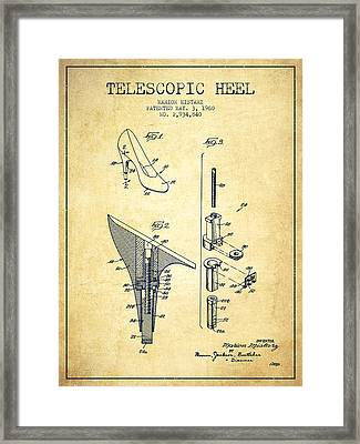 Telescopic Heel Patent From 1960 - Vintage Framed Print by Aged Pixel