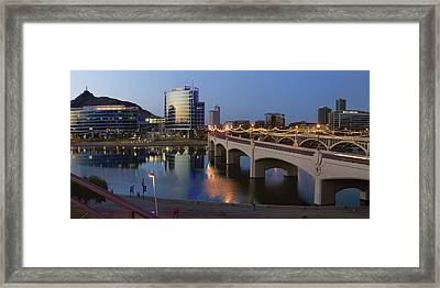 Tempe Town Lake Pano Framed Print by Dave Dilli
