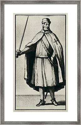Templar Knight Wearing A War Dress Framed Print by Everett