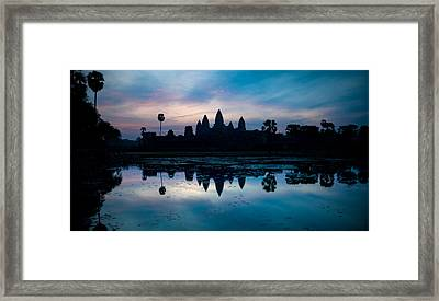 Temple At The Lakeside, Angkor Wat Framed Print by Panoramic Images