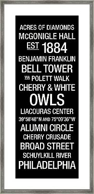 Temple Colege Town Wall Art Framed Print by Replay Photos