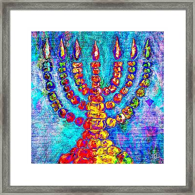 Temple Menorah Framed Print by Music of the Heart