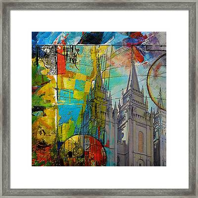 Temple Square At Salt Lake City Framed Print by Corporate Art Task Force