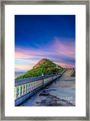 Temple Sunset Framed Print by Adrian Evans