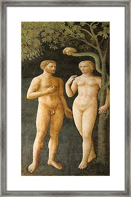Temptation Of Adam And Eve Framed Print by Sheila Terry