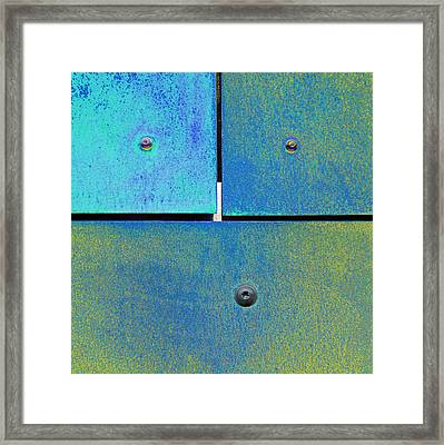 Ten Eleven Twelve - Colorful Rust - Cyan Lime Framed Print by Menega Sabidussi