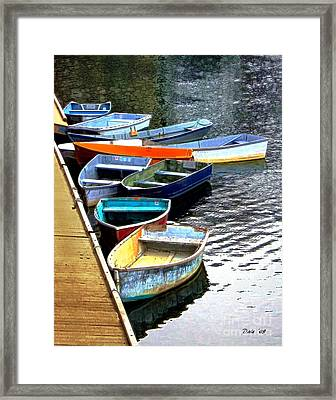 Ten Rockport Dinghies Framed Print by Dale   Ford