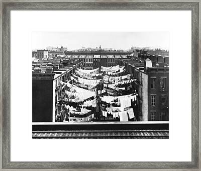Tenement Housing Laundry Framed Print by Underwood Archives