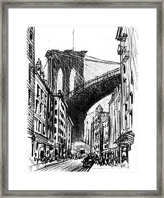 Tenements Near Brooklyn Bridge 1909 Framed Print by Padre Art
