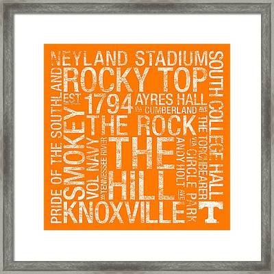 Tennessee College Colors Subway Art Framed Print by Replay Photos