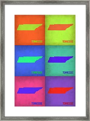 Tennessee Pop Art Map 1 Framed Print by Naxart Studio