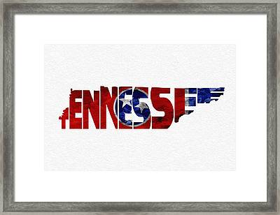 Tennessee Typographic Map Flag Framed Print by Ayse Deniz