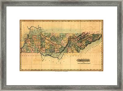 Tennessee Vintage Antique Map Framed Print by World Art Prints And Designs