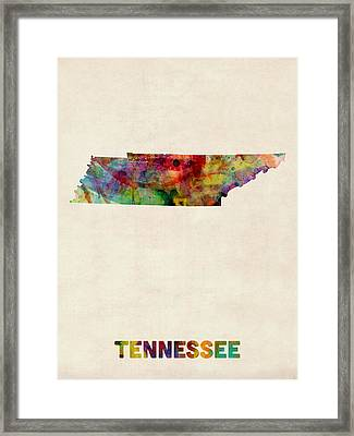 Tennessee Watercolor Map Framed Print by Michael Tompsett