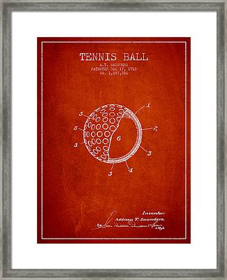 Tennis Ball Patent From 1918 - Red Framed Print by Aged Pixel