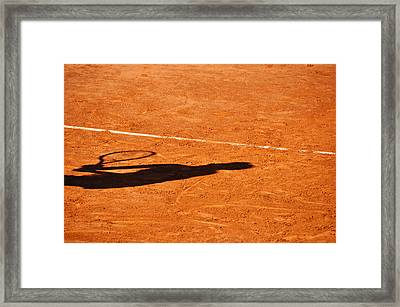 Tennis Player Shadow On A Clay Tennis Court Framed Print by Dutourdumonde Photography
