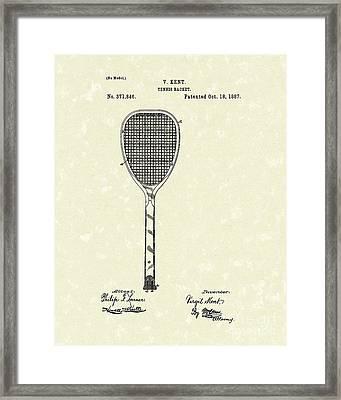 Tennis Racket 1887 Patent Art Framed Print by Prior Art Design