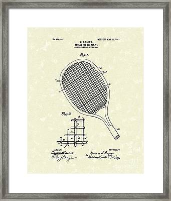 Tennis Racket 1907 Patent Art Framed Print by Prior Art Design